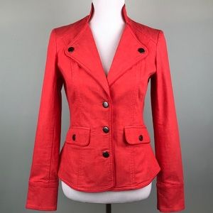 J. Peterman Red Stretch Blazer Jacket Pleated Back